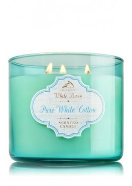 Bougie 3 Mèches Pure White Cotton Bath and Body Works