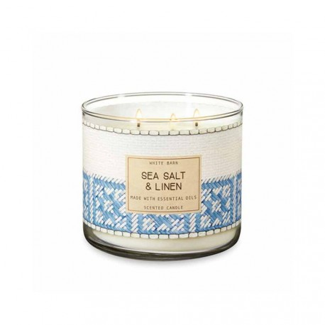 Bougie 3 mèches Sea Salt and Linen Bath & Body Works