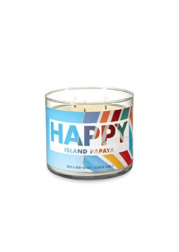 Bougie 3 mèches Happy Island Papaya Bath & Body Works